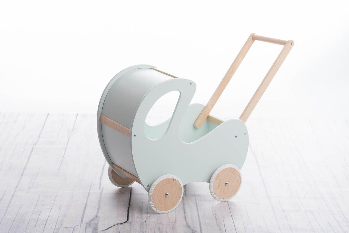 Drevený kočík pre bábiky mätový