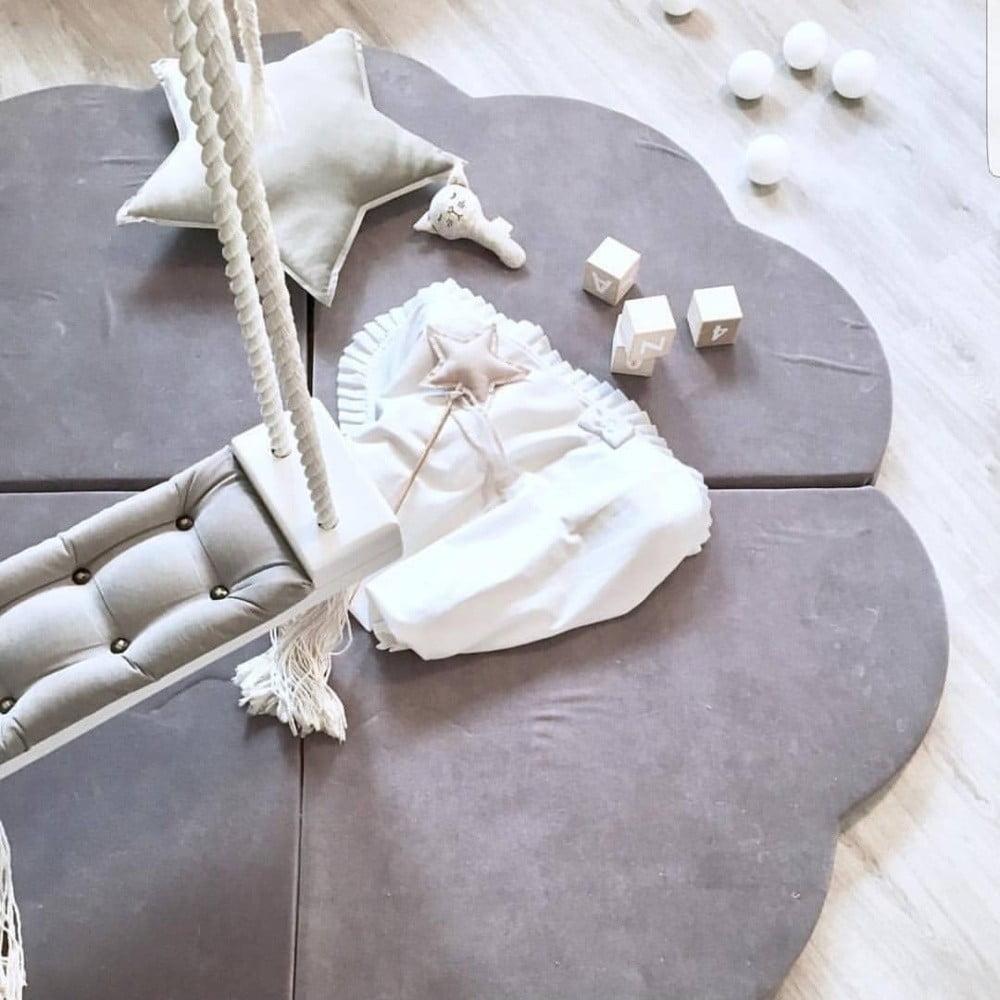 Misioo detská variabilná podložka na hranie FLOWER sivá