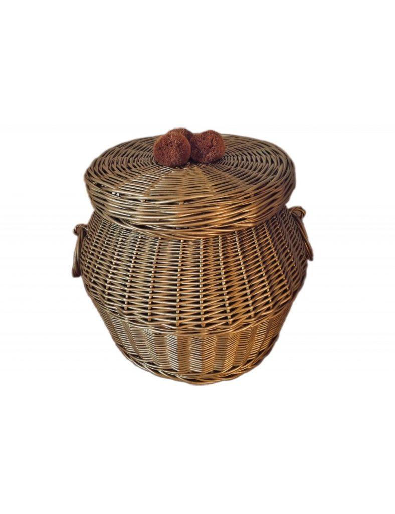 Dadaboom.sk Prútený kôš s poklopom malý- Gold
